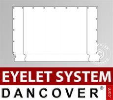 Giebelwand Semi Pro Combi 8m mit breiter Tür, Ösen, Weiß