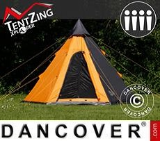 Campingzelt Teepee, TentZing®, 4 Personen, Orange/Dunkelgrau