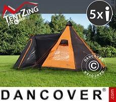 Campingzelt, TentZing® Teepee, 5 Personen, orange/dunkelgrau