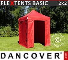 Faltzelt FleXtents Basic v.2, 2x2m Rot, mit 4 wänden