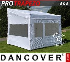 Faltzelt FleXtents PRO Trapezo 3x3m Weiß, mit 4 wänden