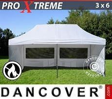Faltzelt FleXtents Xtreme 3x6m Weiß, Flammenhemmend, mit 6 wänden