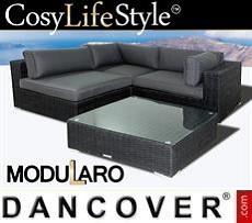 Polyrattan Lounge-Set I, 4 Module, Modularo, schwarz