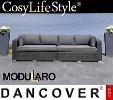 Polyrattan Lounge-Sofa, 2 Module, Modularo, schwarz