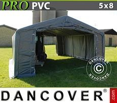 Lagerzelt PRO 5x8x2x2,9m, PVC, Grau