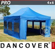 Partyzelte Faltzelt FleXtents PRO 4x6m Blau, mit 8 wänden