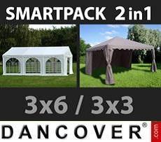 Partyzelte SmartPack 2-in-1-Lösung: Partyzelt Original 3x6m, weiß/Pavillon 3x3m,