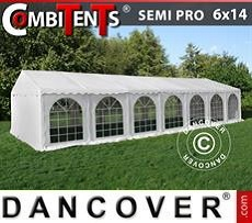 Partyzelt, SEMI PRO Plus CombiTents® 6x14m 5-in-1, Weiß