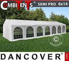 Partyzelt, SEMI PRO Plus CombiTents® 6x14m 5-in-1, Weiß