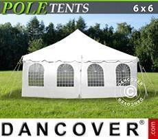 Partyzelte Pole tent 6x6m PVC, Weiß
