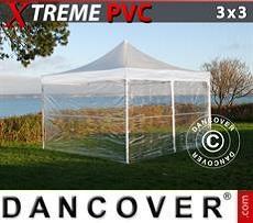 Partyzelte Faltzelt FleXtents Xtreme 3x3m Transparent, mit 4 Wänden