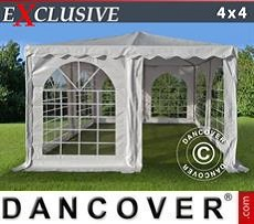 Partyzelte Pagodenzelt Exclusive 4x4m PVC, Weiß