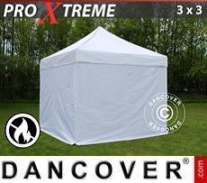 Faltzelt FleXtents Xtreme 3x3m Weiß, Flammenhemmend, mit 4 wänden