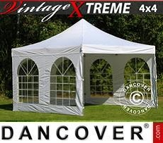 Faltzelt FleXtents Xtreme Vintage Style 4x4m Weiß, mit 4 wänden