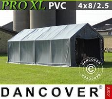 Lagerzelt PRO 4x8x2,5x3,6m, PVC, Grau
