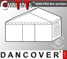 2m-Endabschnitt-Erweiterung für Semi PRO CombiTent, 8x2m, PVC, weiß