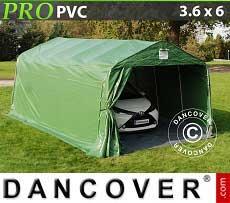 Carpa garaje PRO 3,6x6x2,68m PVC, con cubierta de terreno, Verde / Gris