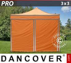Carpa plegable FleXtents PRO 3x3m Naranja reflectante, Incl. 4 lados