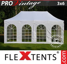 Carpa plegable FleXtents PRO Vintage Style 3x6m Blanco, Incl. 6 lados