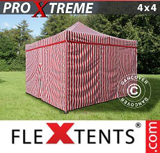 Carpa plegable FleXtents Xtreme 4x4m Rayado, incl. 4 lados
