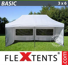 Carpa plegable FleXtents Basic 300, 3x6m Blanco, Incl. 6 lados