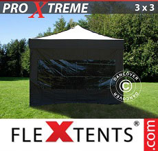 Carpa plegable FleXtents Xtreme 3x3m Negro, Incl. 4 lado