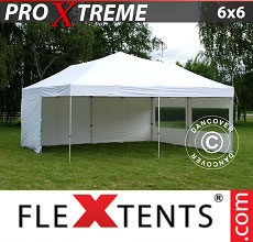 Carpa plegable FleXtents Xtreme 6x6m Blanco, Incl. 4 lados
