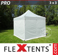 Carpa plegable FleXtents PRO 3x3m Plateado, Incl. 4 lados