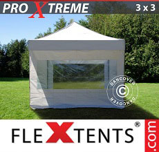 Carpa plegable FleXtents Xtreme 3x3m Blanco, Incl. 4 lados