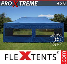 Carpa plegable FleXtents Xtreme 4x8m Azul, incl. 6 lados
