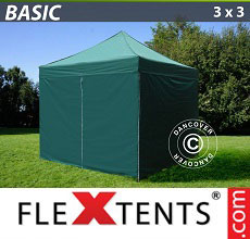 Carpa plegable FleXtents Basic 300, 3x3m Verde, Incl. 4 lados