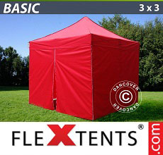 Carpa plegable FleXtents Basic 300, 3x3m Rojo, Incl. 4 lados