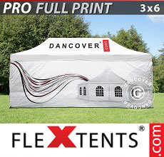 Carpa plegable FleXtents PRO con impresión digital completa, 3x6m, incluye 4