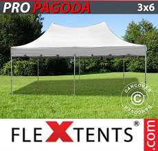 Carpa plegable FleXtents PRO Peak Pagoda 3x6m Latte, incluye 6 muros laterales