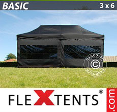 Carpa plegable FleXtents Basic 300, 3x6m Negro, Incl. 6 lados