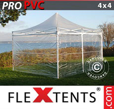 Carpa plegable FleXtents PRO 4x4m Transparente, Incl. 4 lados