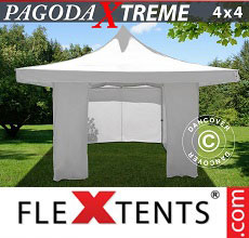 Carpa plegable FleXtents Pagoda Xtreme 4x4m / (5x5m) Blanco, Incl. 4 lados