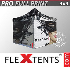 Carpa plegable FleXtents PRO con impresión digital completa, 4x4m, incluye 4