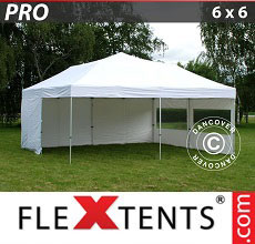 Carpa plegable FleXtents PRO 6x6m Blanco, Incl. 8 lados