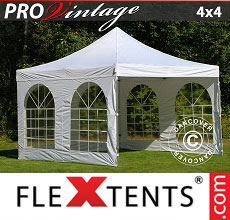 Carpa plegable FleXtents PRO Vintage Style 4x4m Blanco, Incl. 4 lados