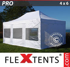 Carpa plegable FleXtents PRO 4x6m Blanco, Incl. 8 lados