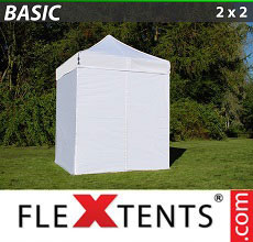 Carpa plegable FleXtents Basic 300, 2x2m Blanco, Incl. 4 lados