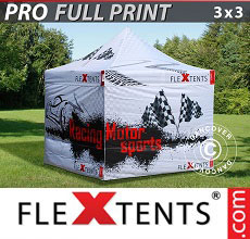Carpa plegable FleXtents PRO con impresión digital completa, 3x3m, incluye 4