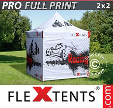 Carpa plegable FleXtents PRO con impresión digital completa, 2x2m, incluye 4