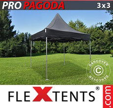 Carpa plegable FleXtents Peak Pagoda 3x3m Negro, incluye 4 muros laterales