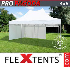 Carpa plegable FleXtents PRO Peak Pagoda 4x6m Blanco, incluye 8 muros laterales