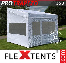 Carpa plegable FleXtents PRO Trapezo 3x3m, Incl. 4 lados