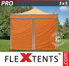 Carpa plegable FleXtents PRO 3x3m Naranja reflectante, Incl. 4 lados