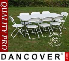 Conjunto para fiesta, 1 mesa plegable (182cm) + 8 sillas & 8 cojines para el