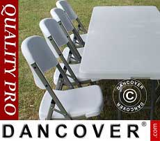 Conjunto para fiesta, 1 mesa plegable (150 cm) + 4 sillas, Gris claro